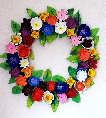 Egg cartion wreath
